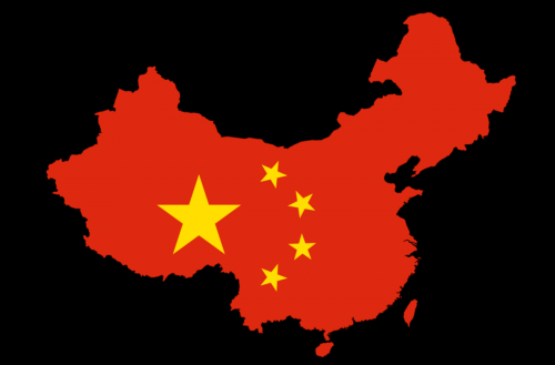 Flag of China illustrated on geographic map of China