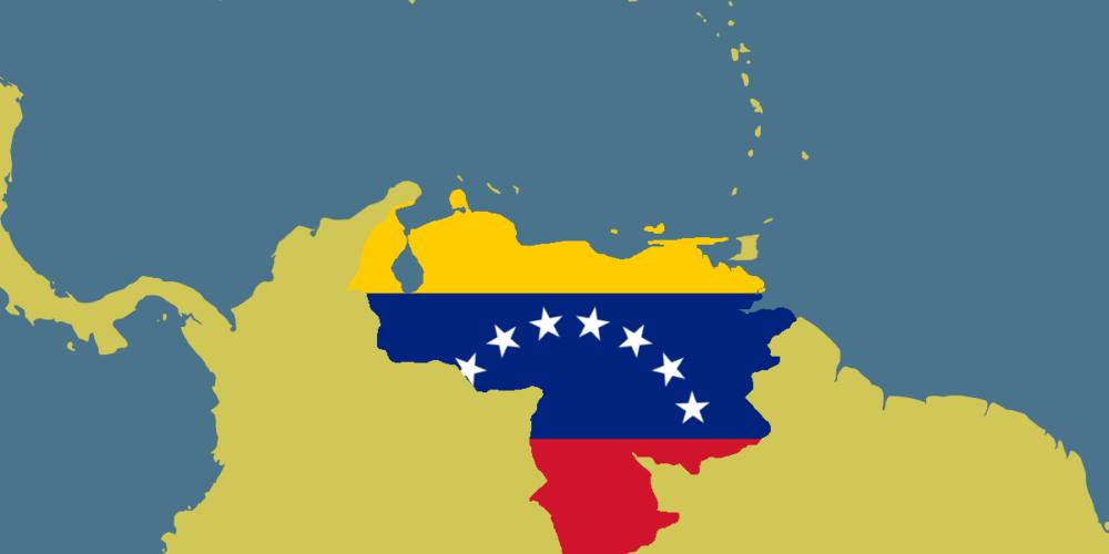 Flag of Venezuela illustrated on geographic map of Venezuela
